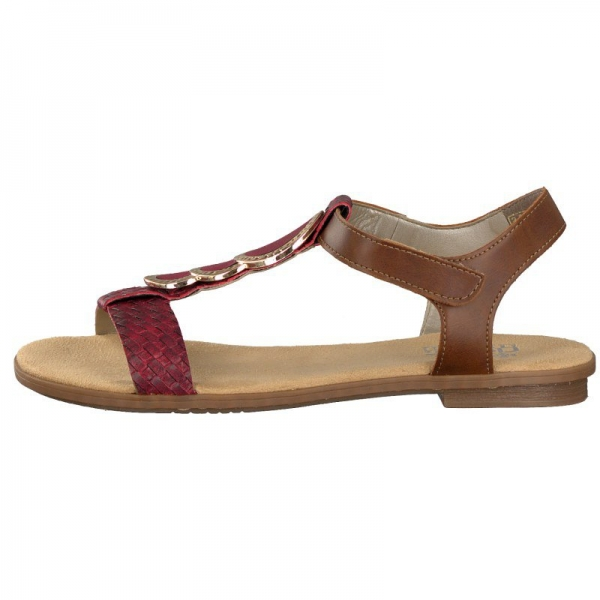 Rieker Damen Sandale rot/braun 64278-35