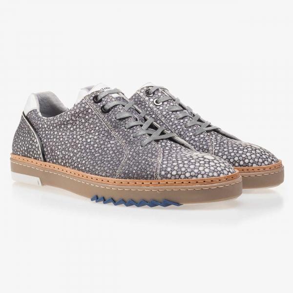 Floris van Bommel graugemusterter Leder Sneaker